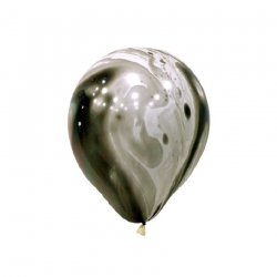 "12"" Marble Black and White Latex Balloon"